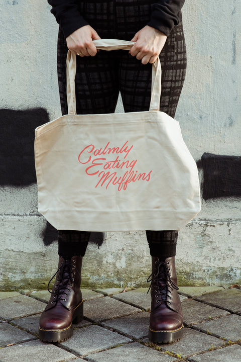 Calmly Eating Muffins Large Eco Tote | The Importance of Being Earnest