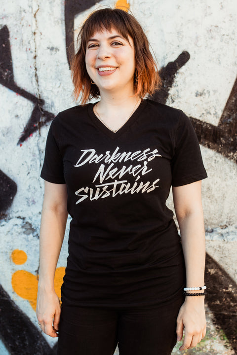 Darkness Never Sustains Unisex V-Neck T-Shirt