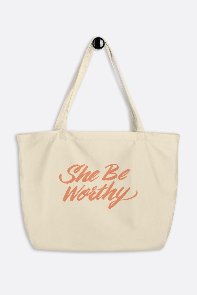 She Be Worthy Large Eco Tote Bag