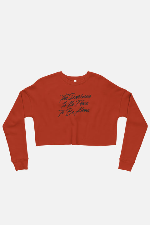The Darkness is No Place to Be Alone Fitted Crop Sweatshirt | The Invisible Life of Addie LaRue