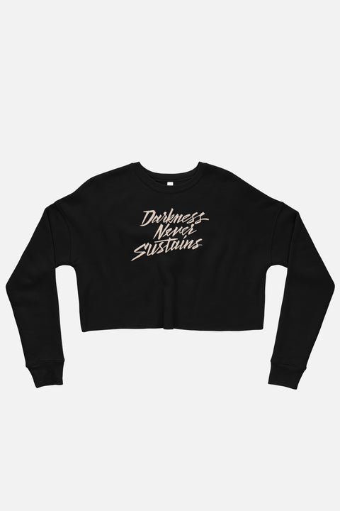 Darkness Never Sustains Fitted Crop Sweatshirt
