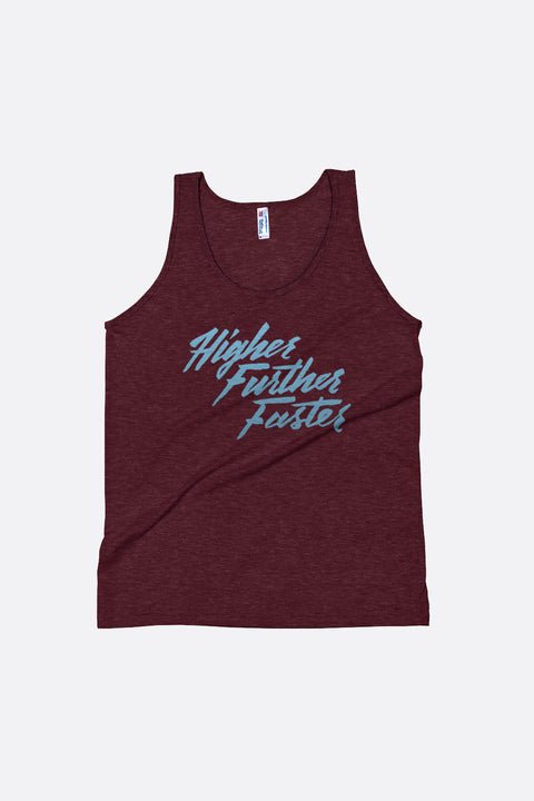 e446091798fa11 Higher Further Faster Unisex Tank Top