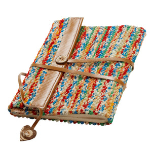 Blank Journal With Woven Recycled Cloth Cover - Sari & Leather Travel Journal