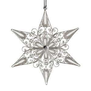 Silver Plated Copper Filigreed Ornament - Filigree Star Ornament
