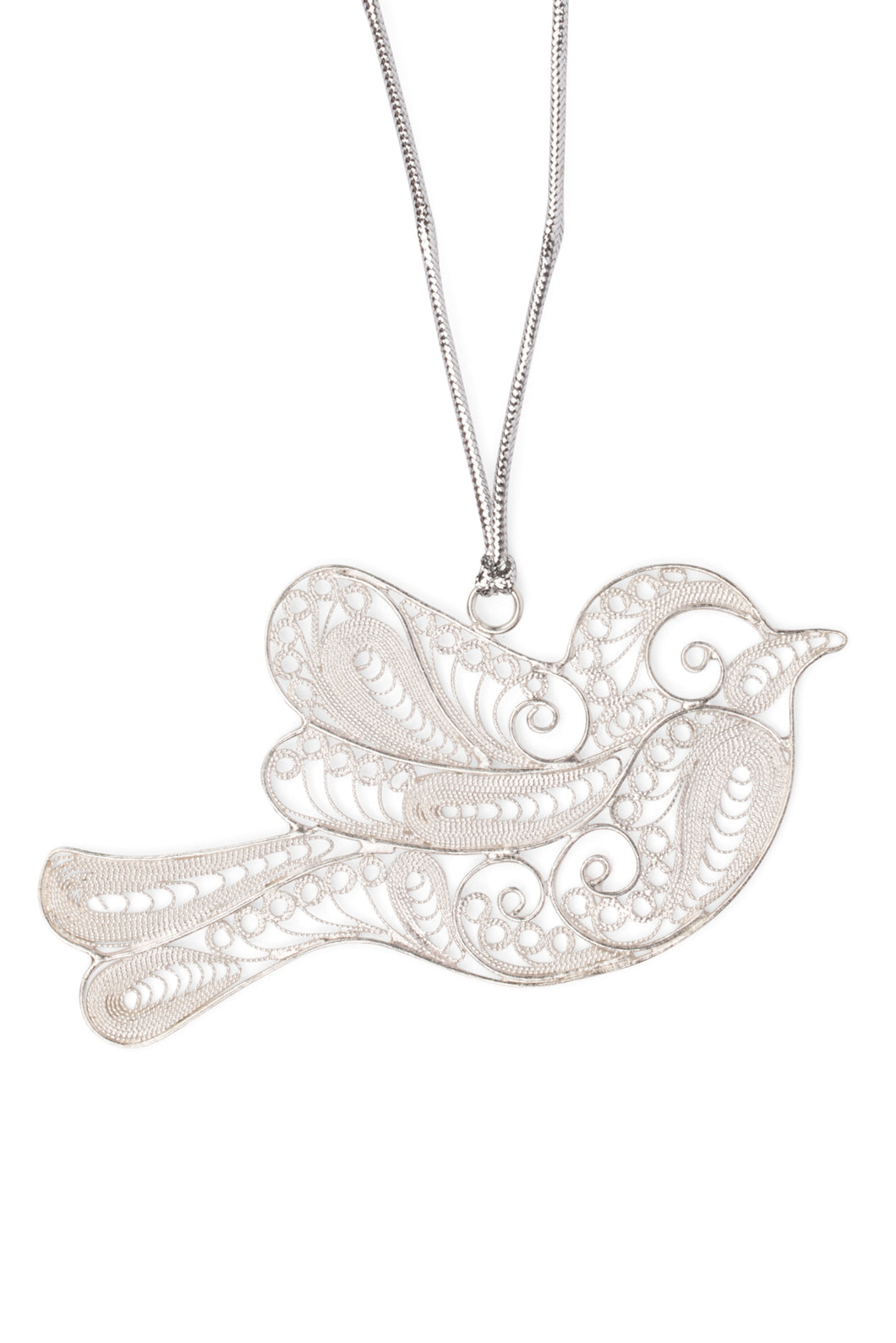 Silver Plated Copper Ornament - Filigree  Dove Ornament