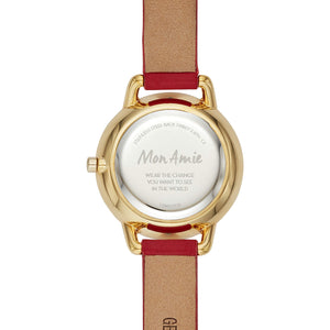 Quartz Watch with Leather Strap | Red