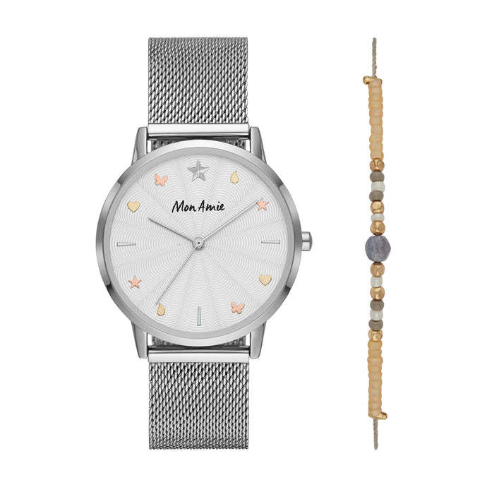 Quartz Watch and Bracelet Set | Silver