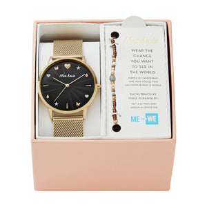 Quartz Watch | Black & Gold