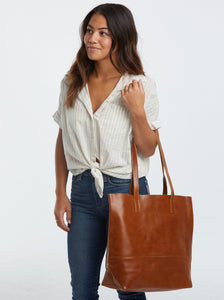 Chestnut leather tote bag