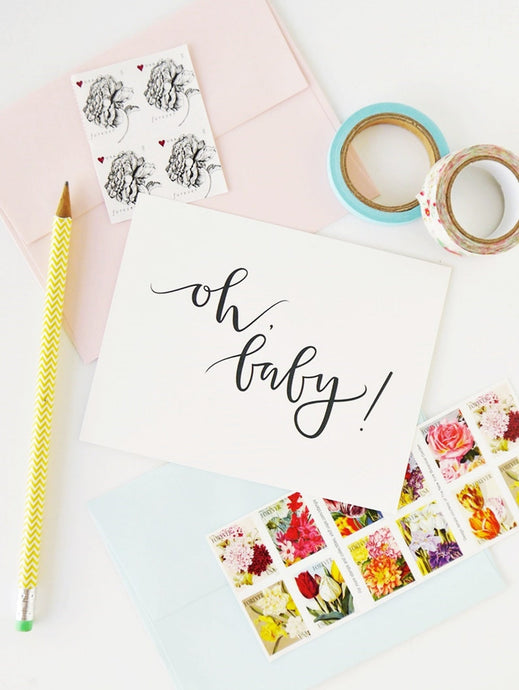 Calligraphy Unisex Baby Greeting Card
