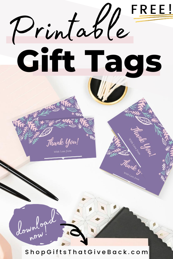free thankyou gift tag purple floral