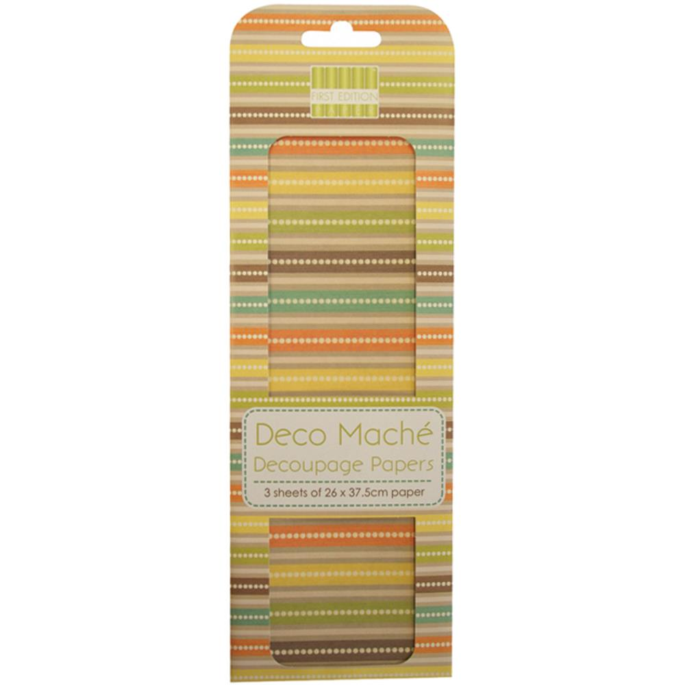 "Deco Mache Paper 10.25""X14.75"" 3/Pkg Boho Chic, Stripes"