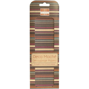 "Deco Mache Paper 10.25""X14.75"" 3/Pkg Desert Bloom, Multi Stripe"