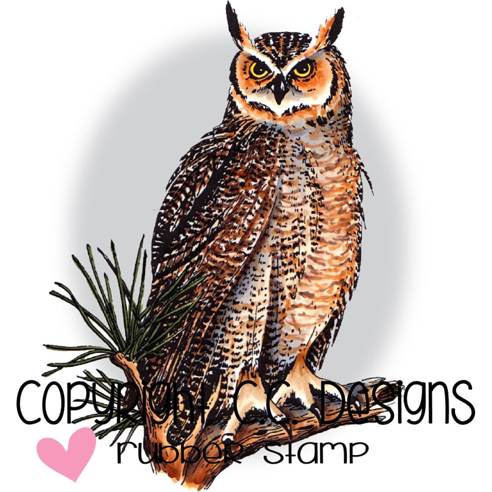 "CC Designs Great Horned Owl Stamp 2.5"" x 3.4"" - Scrap of Paradise"