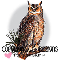 "CC Designs Great Horned Owl Stamp 2.5"" x 3.4"""