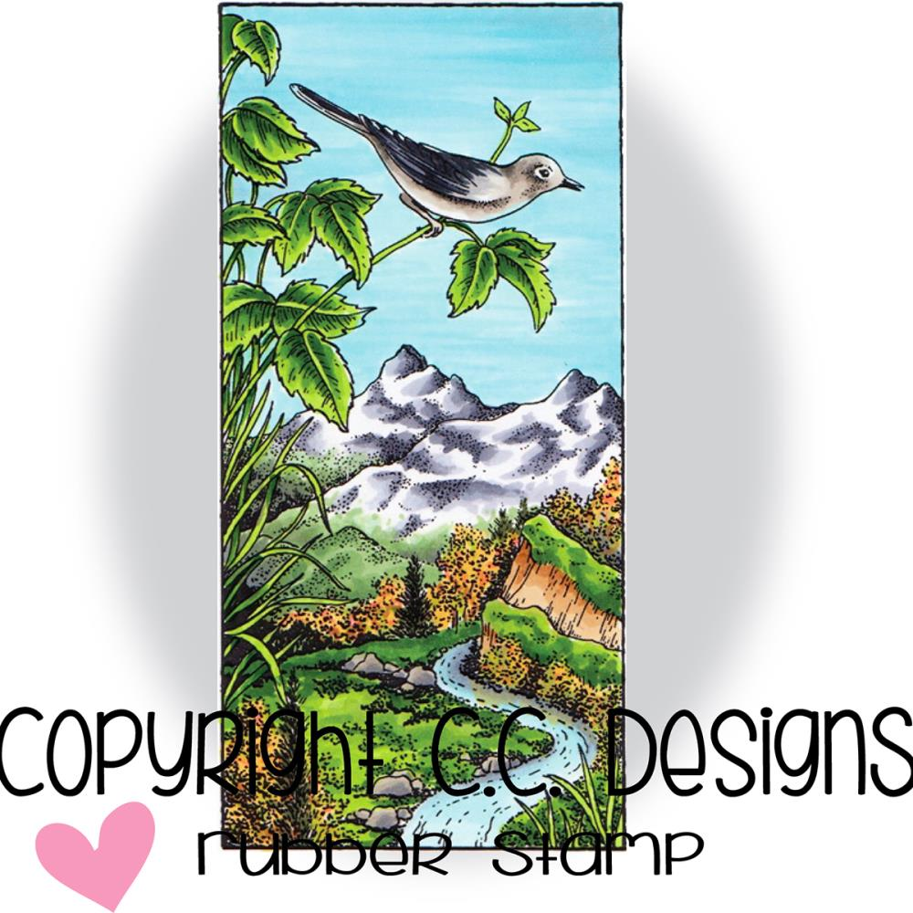 "CC Designs Mountain Song Stamp 2"" x 4.2"" - Scrap of Paradise"