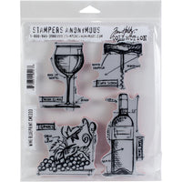 Tim Holtz Wine Blueprint Stamp Set