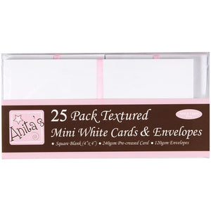 "Anita's Mini Textured Cards W/Envelopes 4""X4"" 25/Pkg White"