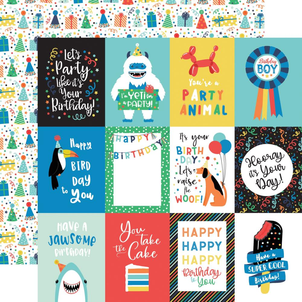 "Echo Park It's Your Birthday Boy Double-Sided Cardstock 12""X12"" 3""X4"" Journaling Cards"