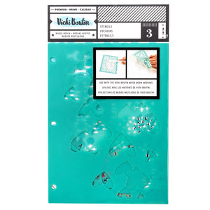 Vicki Boutin Mixed Media Stencils 3/Pkg Field Notes Ink Spill