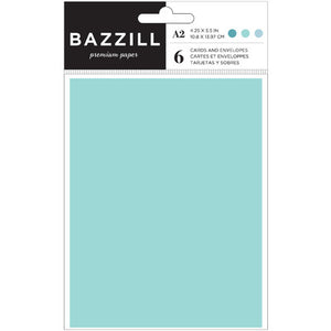 Bazzill A2 Card & Envelope 6 Pack - Seafoam