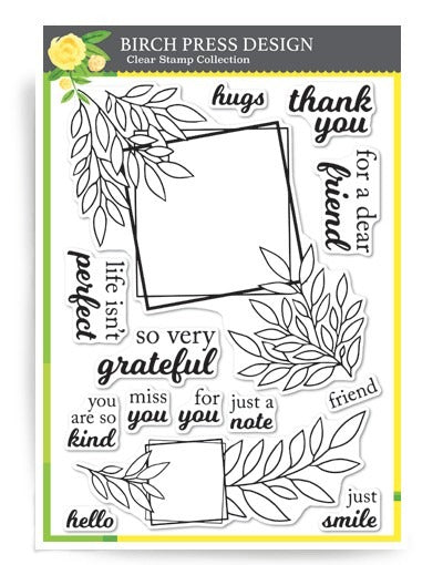 Birch Press Designs Clear Stamp, Grateful Leaf Frames