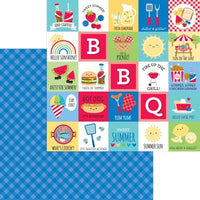 Doodlebug Bar-B-Cute 12 x 12 Paper Blueberry Plaid