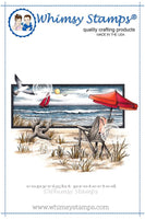 "Whimsy Beach Serenity Rubber Cling Stamp 4.75"" x 3.7"""