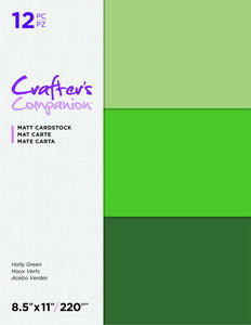 Crafter's Companion 8.5X11 Matte Cardstock Pack, Holly Greens 12 sheets