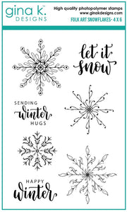 Gina K. Designs Clear Stamp, Folk Art Snowflake
