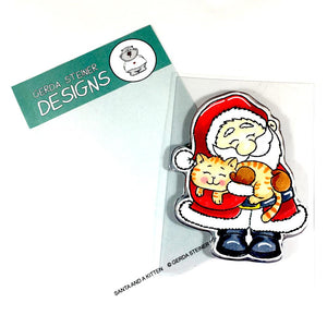 Santa and a Kitten Gerda Steiner Designs Stamp