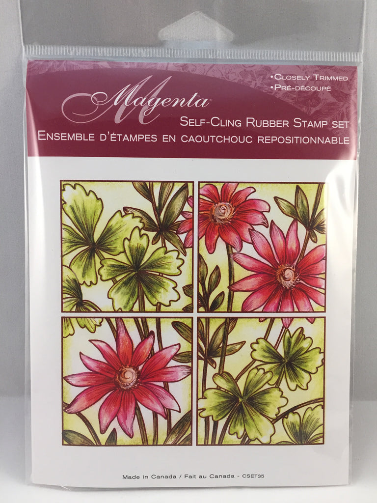 Garden Flower Tile Magenta Stamp - Scrap of Paradise