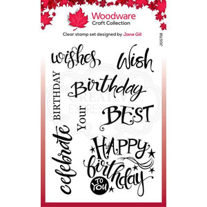 Woodware Clear A Birthday Moment Stamp Set