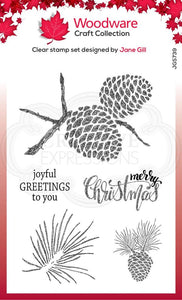 Woodware Clear Sketchy Pine Cones Stamp Set