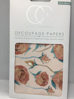 English Rose Decoupage Papers 35 x 40 cm pk of 3