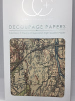 Vintage Map Decoupage Papers 35 x 40 cm pk of 3