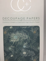 Peacock Blue Decoupage Papers 35 x 40 cm pk of 3