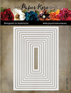 Paper Rose Nesting Stitched Rectangles A6 Die Set