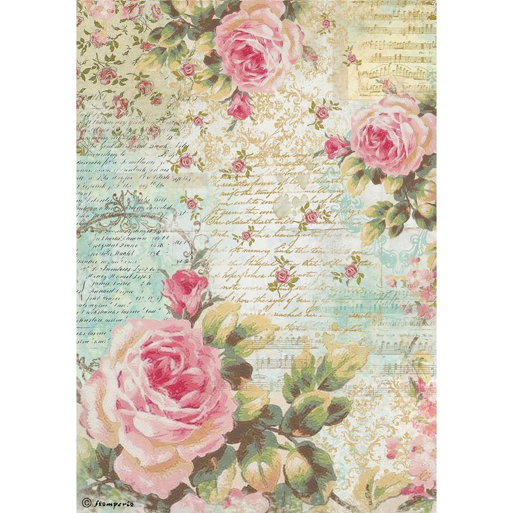 Rose Script Stamperia Rice Paper