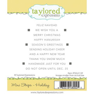 Taylored Expressions Cling Stamp, Simple Mini Strips - Holiday