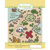 "Treasure Map Background Taylored Expressions Stamp 4.5"" x 5.75"""