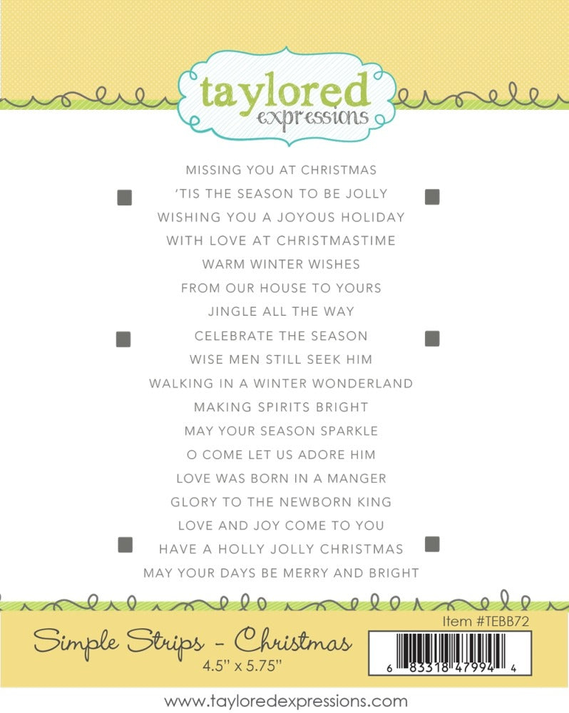 Taylored Expressions Cling Stamp, Simple Strips - Christmas