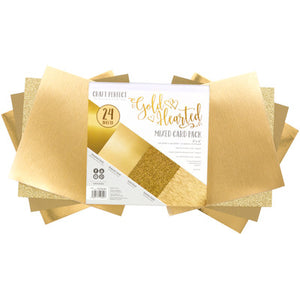 "Craft Perfect Mirror Cardstock 6""X6"" 24/Pkg Gold Hearted"