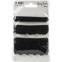 49 and Market Lacey Trim Ribbon Black