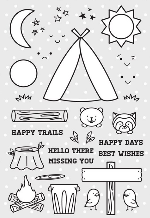 Pretty Pink Posh Stamp Set - Camping Friends