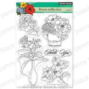Flower Collection Penny Black Cling Stamp Set