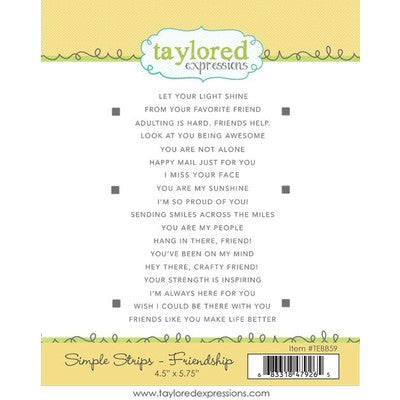 Taylored Expressions Cling Stamp, Simple Strips Friendship