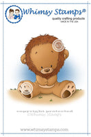 Whimsy Little Lion Rubber Cling Stamp 3.6 x 3.4