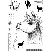 Pink Ink Designs A5 Clear Stamp Llama Queen