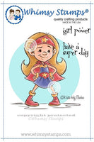 Whimsy Super Girl Rubber Cling Stamp 3.3 x 3.7